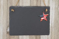 Old fashion patriotic hanging chalkboard background Royalty Free Stock Images