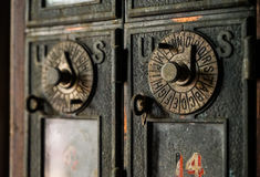 Old fashion post office boxes Stock Photography