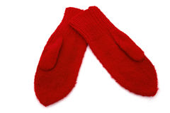 Old fashion red mittens. Old fashion red knitted mittens on white Stock Image