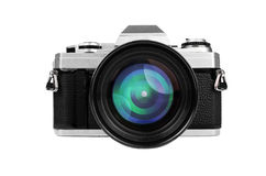 Old-fashion retro camera with big lens isolated on white Royalty Free Stock Photography
