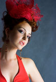 Old fashion style. Beautiful red-haired girl in old fashion style shot Stock Photography