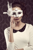 Old fashion style woman in white carnival mask Royalty Free Stock Image