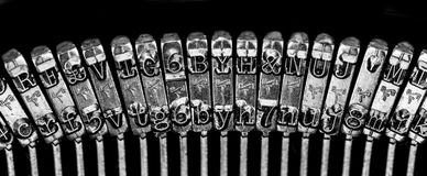 Old Fashion Typewriter. On a black background Stock Image