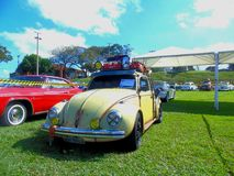 Old Fashion VW Beetle. At the cars show in Brazil Stock Photos