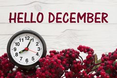 Old fashion winter message with clock Stock Image