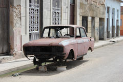 Old fashioned abandoned Cuban car Royalty Free Stock Image