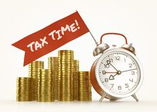 «Tax Time!» Alarm Message Royalty Free Stock Image