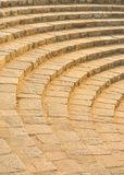 Old fashioned amphitheater made of stairs of stone. Seats of old fashioned amphitheater, seats made of marble sand stones in Purana quila/Old Fort, Delhi , India stock photo