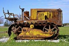 Old fashioned antique small bulldozer Stock Photo