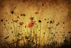 Old-fashioned artistic flower. Old-fashioned landscape in France, digitally processed stock images