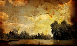 Old-fashioned artistic landscape Royalty Free Stock Images