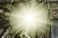 Old fashioned audio tape cassettes background Stock Images