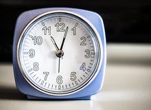Old fashioned azure morning alarm clock Royalty Free Stock Photo