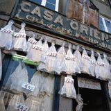 Old fashioned bacalhau shop Stock Image