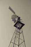 Old Fashioned Balck and White Power Windmill stock photo