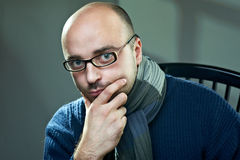Old fashioned bald writer in glasses Royalty Free Stock Photography