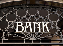 Old fashioned bank sign Royalty Free Stock Images