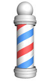 Old-fashioned barber pole with red, white, and blue stripes rendered in 3D Royalty Free Stock Images