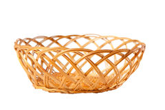 Old fashioned basket. Woven of twigs isolated on white background Royalty Free Stock Image