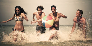 Old fashioned beach fun Stock Photography