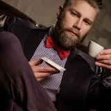 Old-fashioned bearded man sitting in comfortable leather sofa with cup of coffee  on  gray. Stock Photo