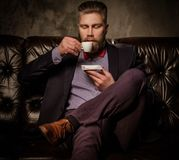 Old-fashioned bearded man sitting in comfortable leather sofa with cup of coffee isolated on  gray. Stock Photos
