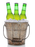 Old Fashioned Beer Bucket With Three Bottles Stock Images