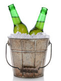 Old Fashioned Beer Bucket With Two Bottles Stock Photo