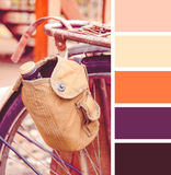 Old-fashioned bicycle.  colour palette swatches. Retro vintage effect Stock Images