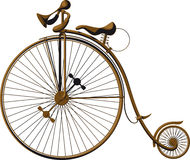 Old fashioned bicycle. Grungy old fashioned bicycle with a large front wheel stock illustration