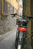 Bicycle in alleyway stock images