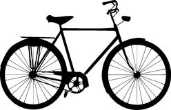 Old Fashioned Bicycle Silhouette On White Background Stock Photos