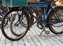 Old fashioned bicycles Stock Images