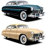Old-fashioned big car. Vectorial image of old-fasioned big american car, executed in two colour versions. Contained gradients and blends Royalty Free Stock Photo