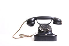 Old-fashioned black phone Royalty Free Stock Photos