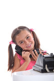 Old fashioned black telephone Stock Image