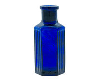 Old fashioned blue chemical bottle Stock Image
