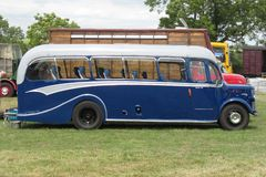 An old fashioned blue luxury coach. An arge blue old fashioned luxury coach Stock Photography
