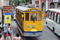 Old-fashioned bonde tram stands empty on the streets of Santa Te Stock Photography