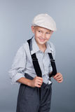 Old fashioned boy and looking sideways Royalty Free Stock Image