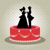 Old-Fashioned Bride and Groom Cake Topper Stock Photos