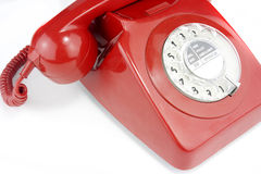 Old fashioned bright red telephone handset Royalty Free Stock Images