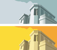 Old-fashioned building. In two color variant, vector illustration Royalty Free Stock Images