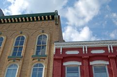 Old fashioned buildings. Close-up of buildings in historic Riverfront architecture style from midwestern town stock images