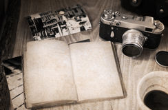 Old-fashioned camera, opened book, cup of coffee Royalty Free Stock Image