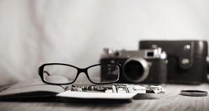 Old-fashioned camera and stylish glasses Stock Photos