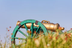 The old fashioned cannon on a hill Stock Photo