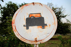Old-fashioned car parking sign Stock Image