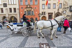 Old fashioned carriage in centre of Prague. Royalty Free Stock Image
