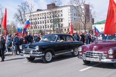 Old-fashioned cars participate in parade Royalty Free Stock Photo